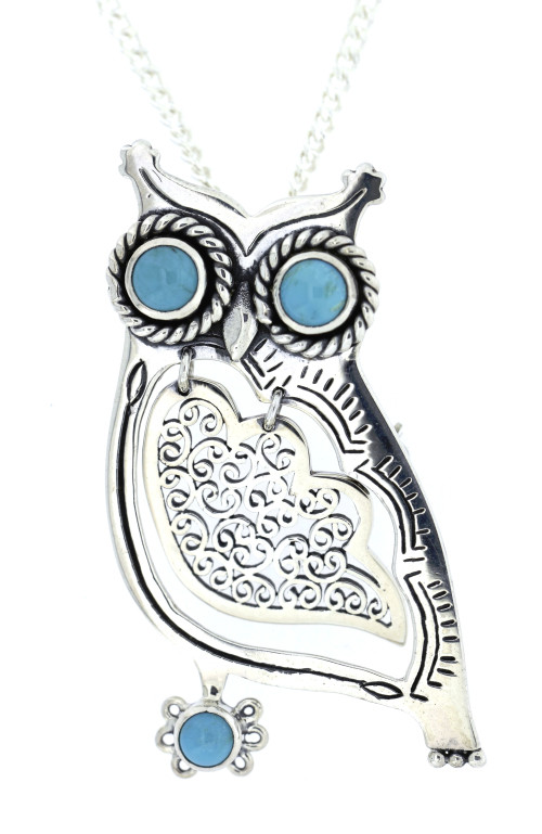 Turquoise filagree wing Owl Pendant and Brooch