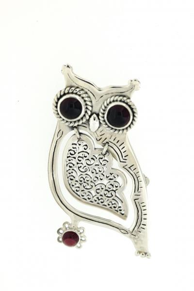 Owl filagree wing Garnet Brooch